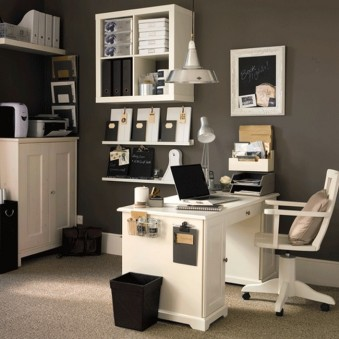 Perfect-Office-Space-Design-Presenting-Small-Office-Ideas-with-White-Desk-Next-to-Black-Trashbin-Also-Cabinets-in-the-Wall
