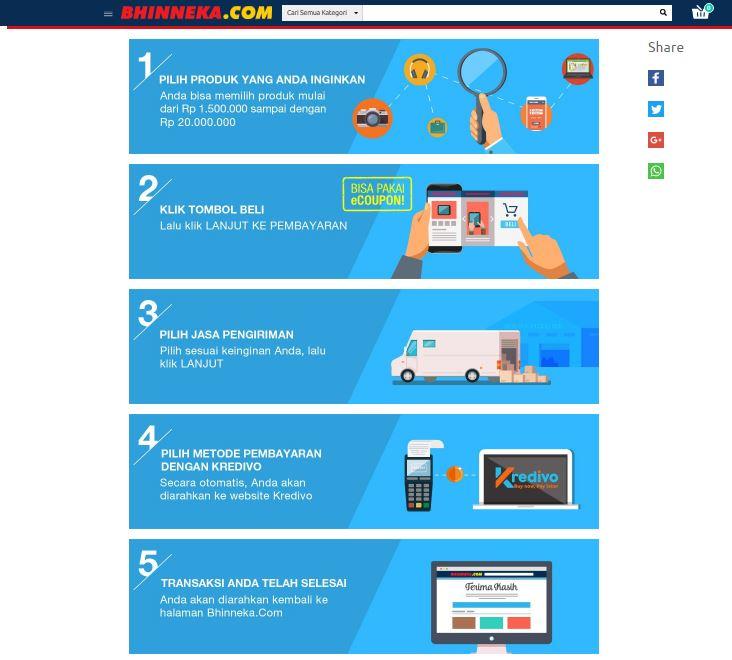 Lima Langkah Mudah Belanja di Bhinneka.Com Menggunakan KREDIVO