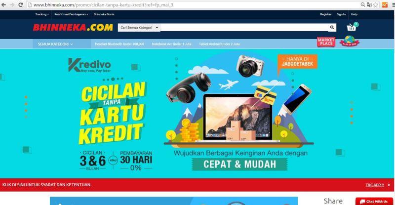 Tampilan Landing Page KREDIVO di Bhinneka.Com